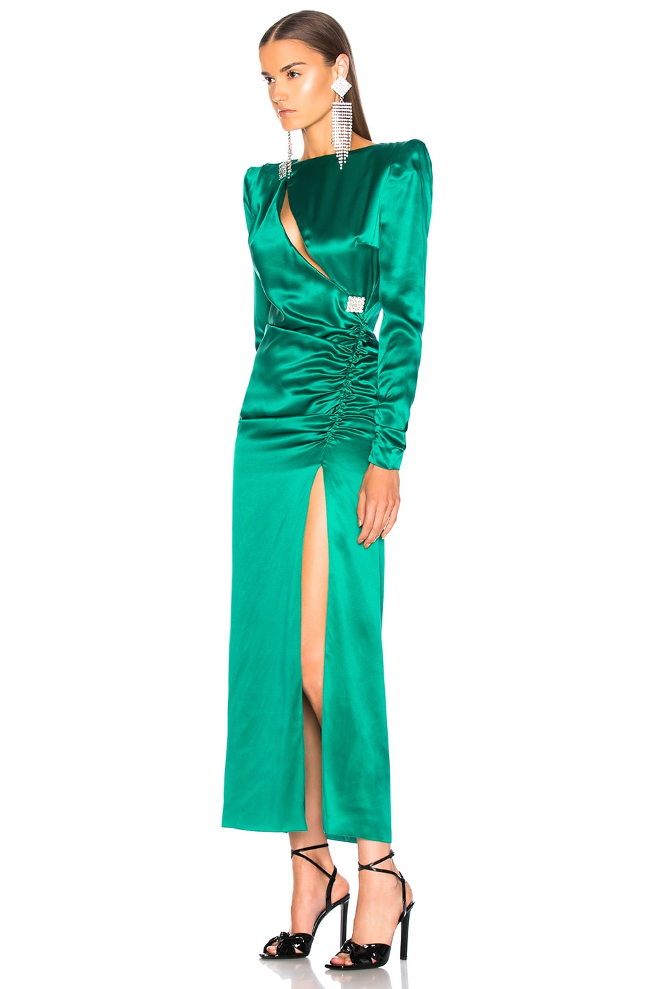 Image 3 of Alessandra Rich Slashed Front Silk Satin Gown in Green