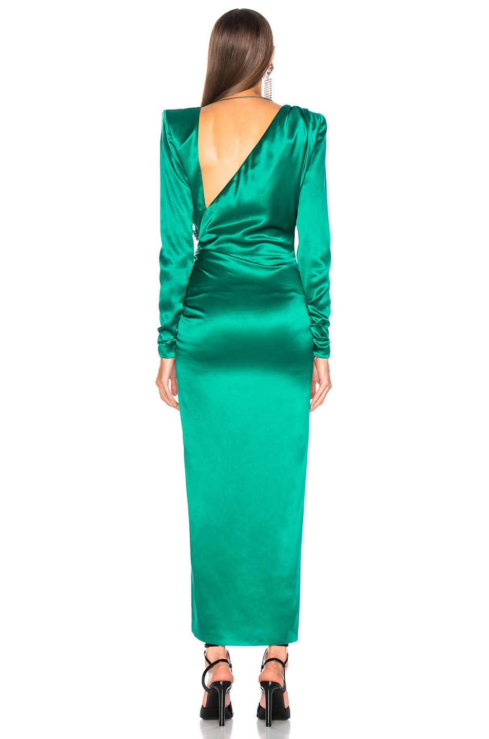 Image 4 of Alessandra Rich Slashed Front Silk Satin Gown in Green