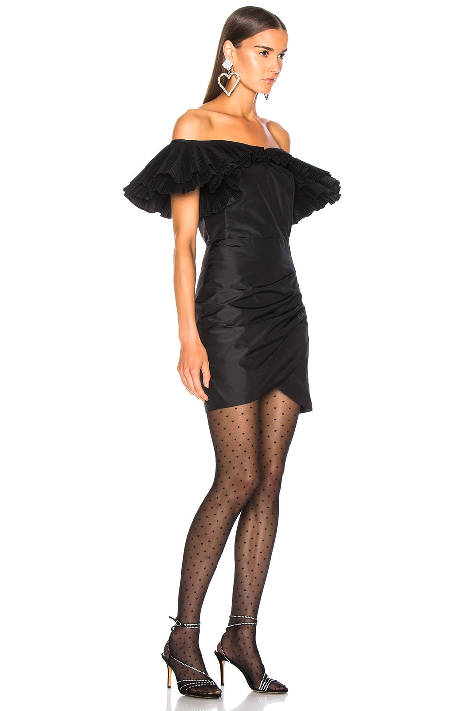 Image 2 of Alessandra Rich Silk Taffeta Butterfly Dress in Black