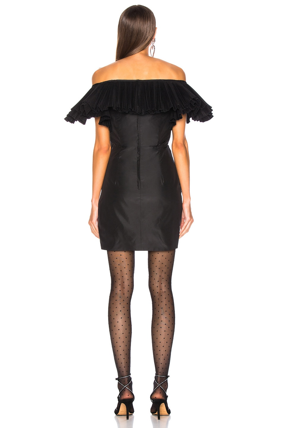 Image 3 of Alessandra Rich Silk Taffeta Butterfly Dress in Black