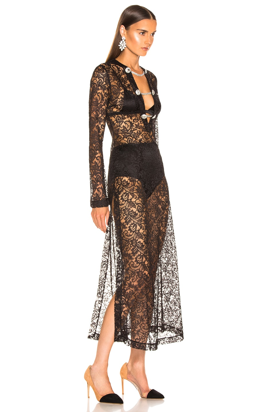Image 2 of Alessandra Rich Crystal Button Lace Dress in Black