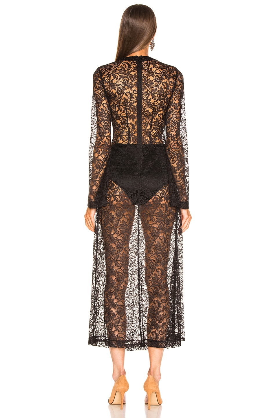 Image 3 of Alessandra Rich Crystal Button Lace Dress in Black