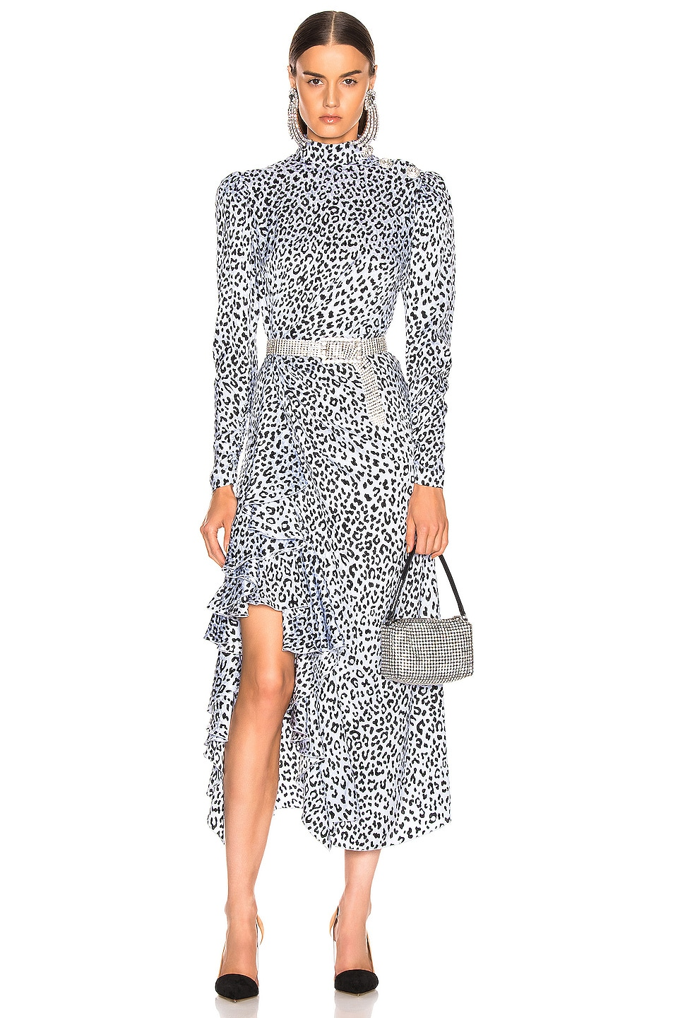 Image 1 of Alessandra Rich Leopard Ruffle Dress in Light Blue