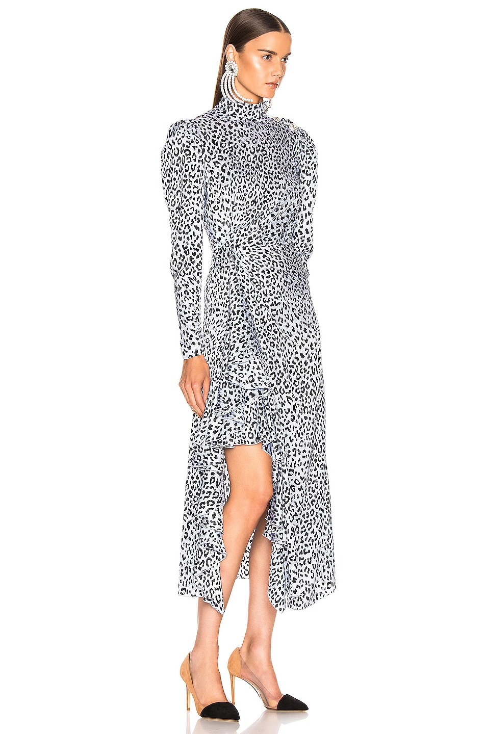 Image 2 of Alessandra Rich Leopard Ruffle Dress in Light Blue