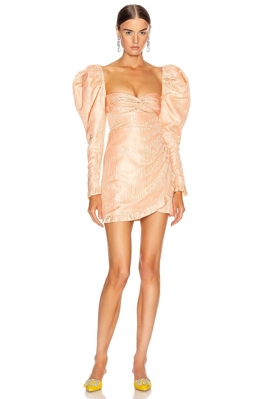 Image 1 of Alessandra Rich Moire Jacquard Mini Dress in Peach