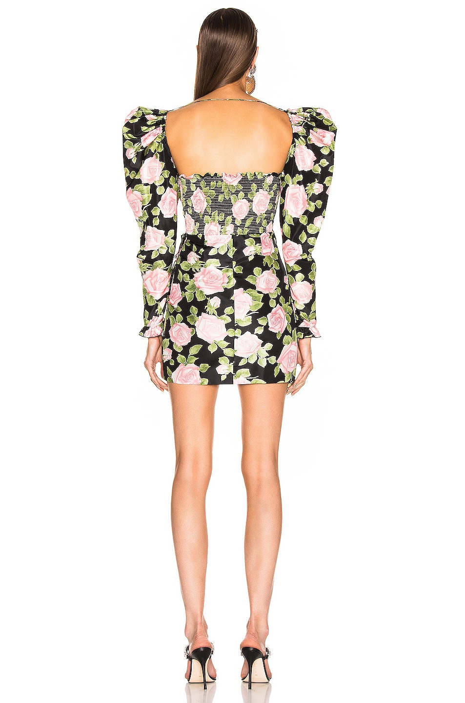 Image 4 of Alessandra Rich Rose Print Puff Sleeve Mini Dress in Black & Pink