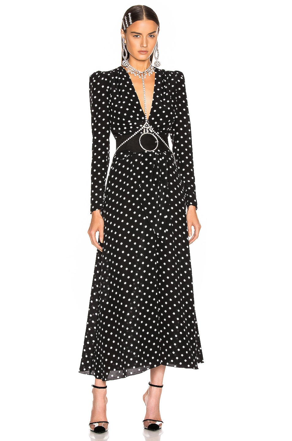 Image 1 of Alessandra Rich Polka Dot Tie Front Midi Dress in Black