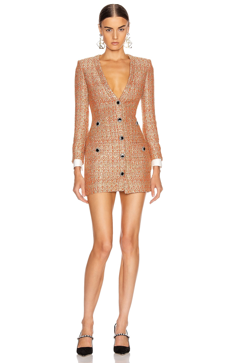 Image 1 of Alessandra Rich V Neck Sequin Tweed Mini Dress in Coral & Gold