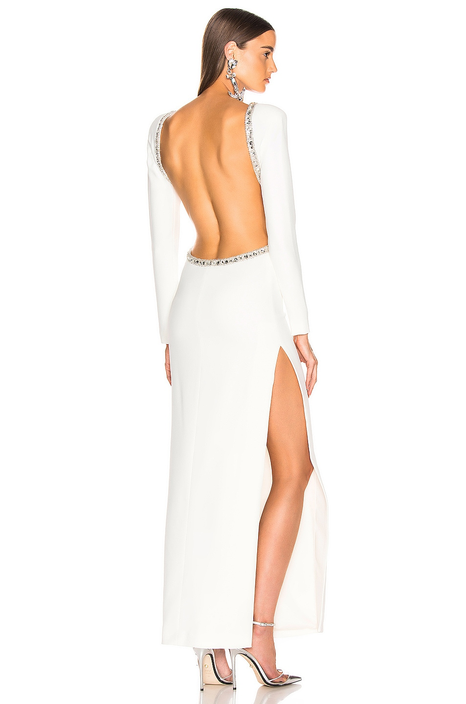 Image 1 of Alessandra Rich Crystal Embellishment Open Back Dress in White