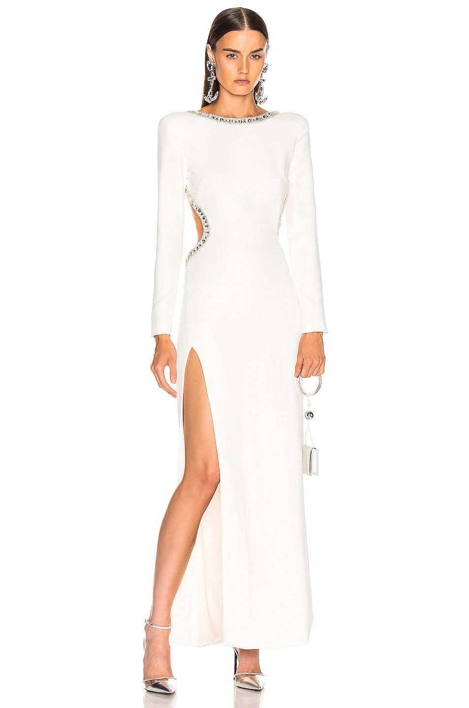 Image 2 of Alessandra Rich Crystal Embellishment Open Back Dress in White