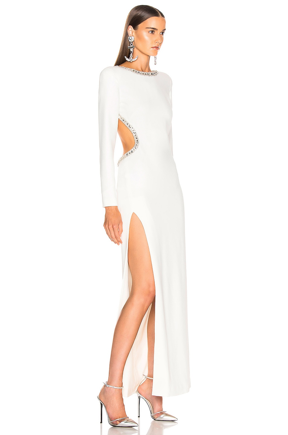 Image 3 of Alessandra Rich Crystal Embellishment Open Back Dress in White