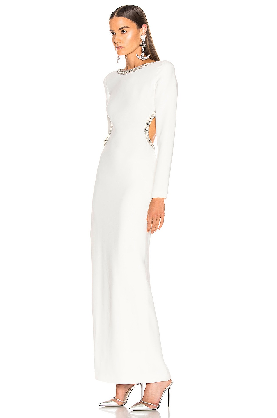 Image 4 of Alessandra Rich Crystal Embellishment Open Back Dress in White