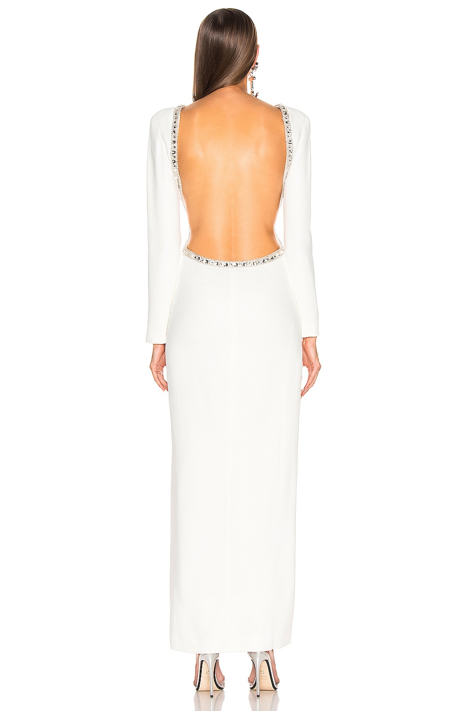 Image 5 of Alessandra Rich Crystal Embellishment Open Back Dress in White