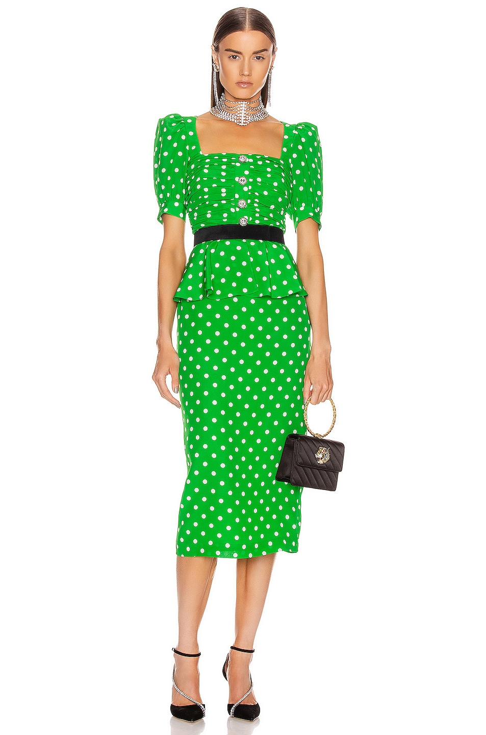 Image 1 of Alessandra Rich Polka Dot Dress With Peplum in Green