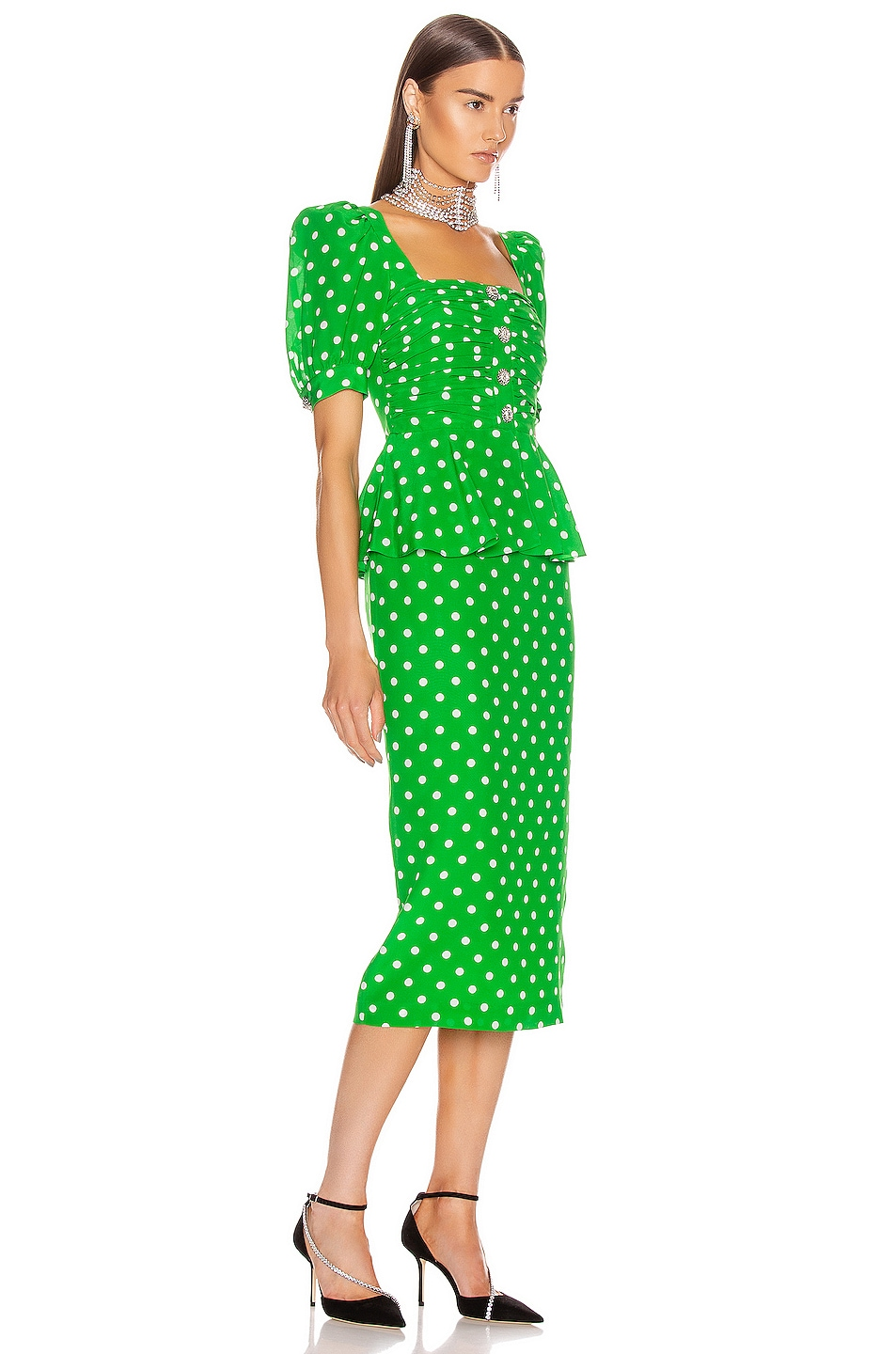 Image 2 of Alessandra Rich Polka Dot Dress With Peplum in Green