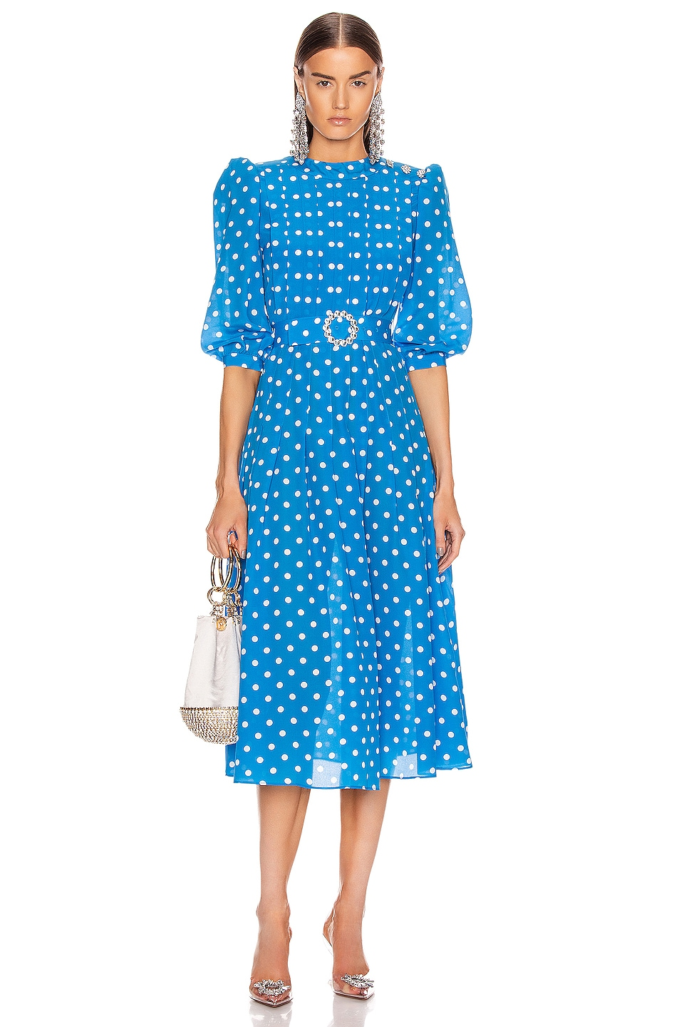 Image 1 of Alessandra Rich Polka Dot Pleated Midi Dress in Bluette