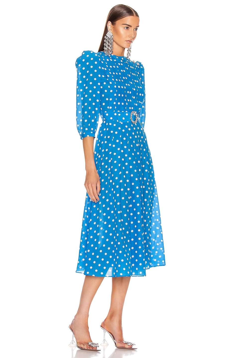 Image 2 of Alessandra Rich Polka Dot Pleated Midi Dress in Bluette