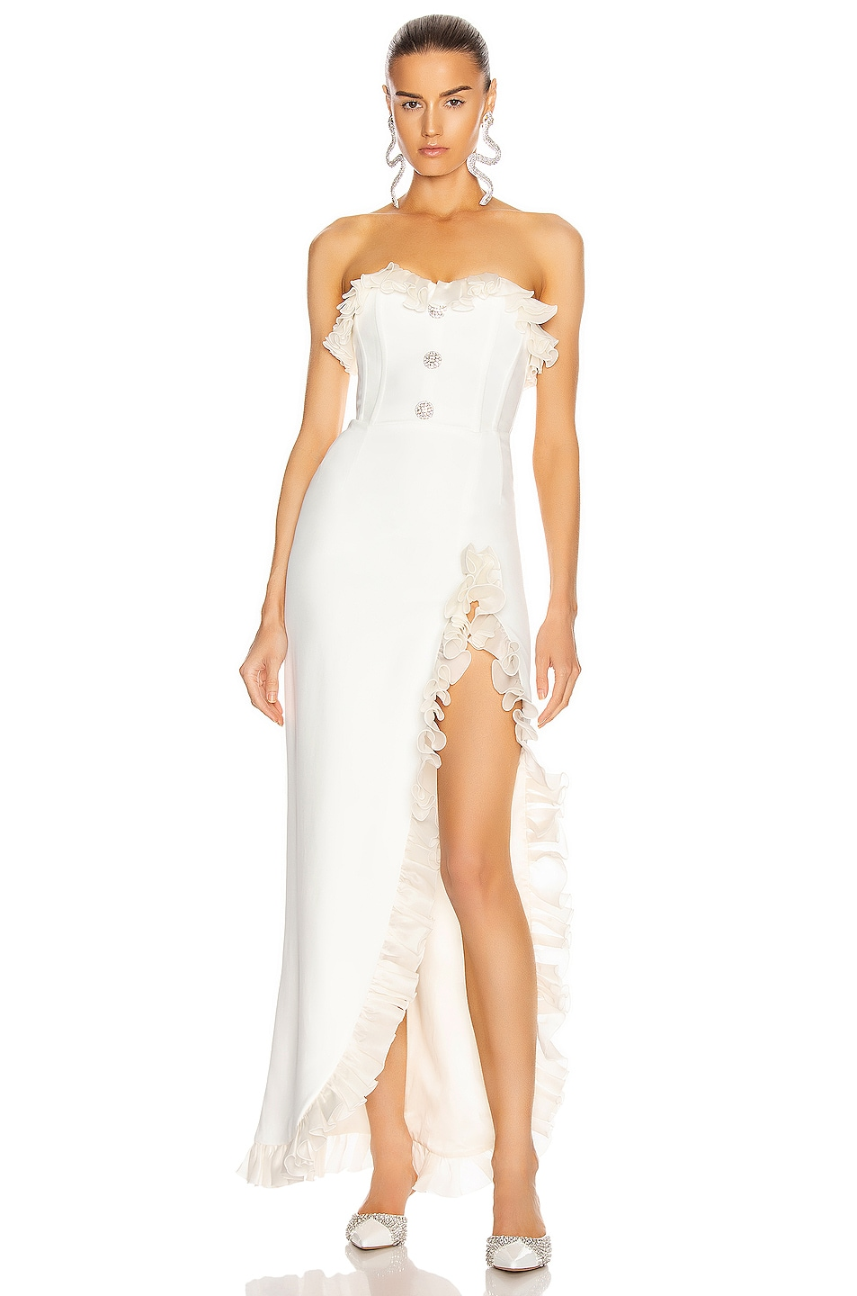 Image 1 of Alessandra Rich Strapless Dress With Ruffle Trim in White