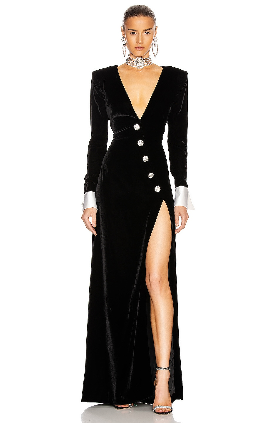 Image 1 of Alessandra Rich Long Velvet Dress With Crystal Buttons in Black