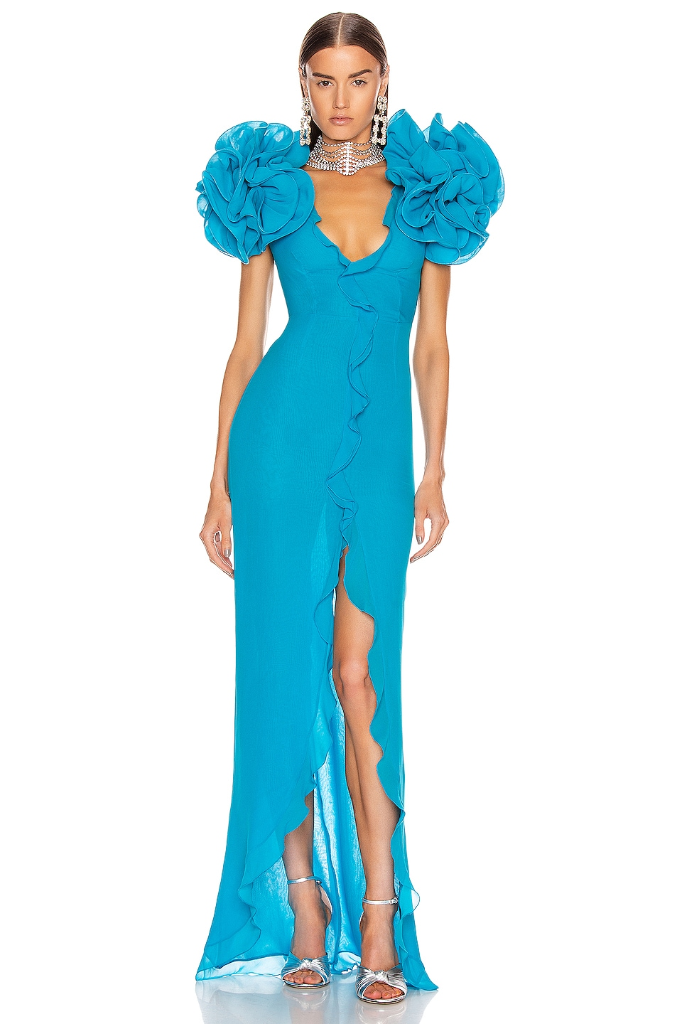 Image 1 of Alessandra Rich Midi Dress With Ruffle Sleeves in Turquoise