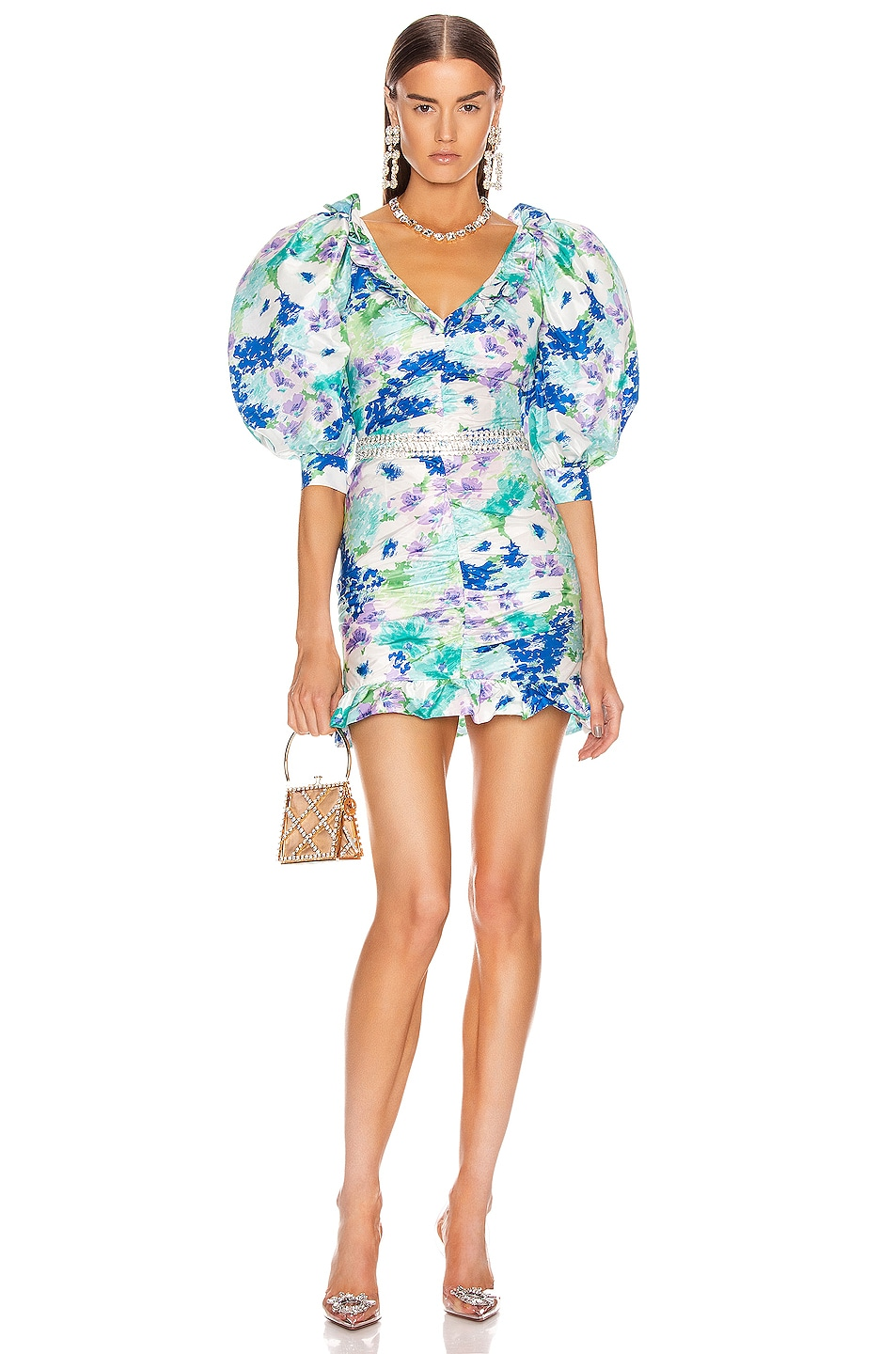 Image 1 of Alessandra Rich Floral Print Mini Bow Dress in Turquoise