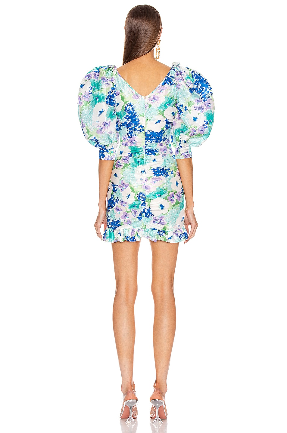 Image 3 of Alessandra Rich Floral Print Mini Bow Dress in Turquoise