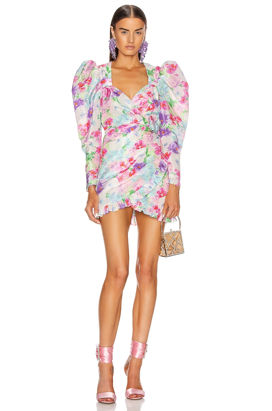 Image 1 of Alessandra Rich Floral Print Mini Dress in Pink