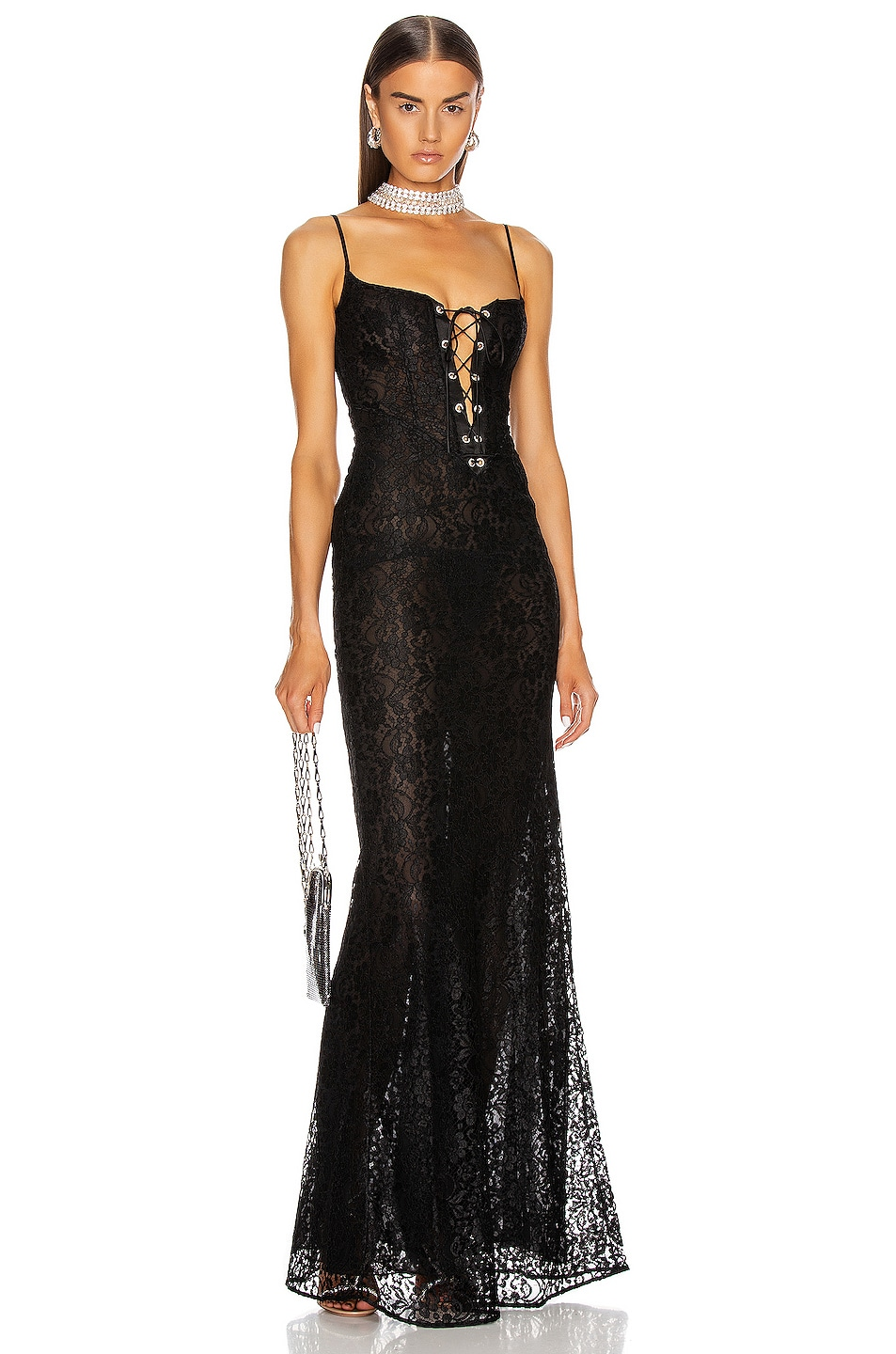 Image 1 of Alessandra Rich Long Lace Bustier Dress in Black