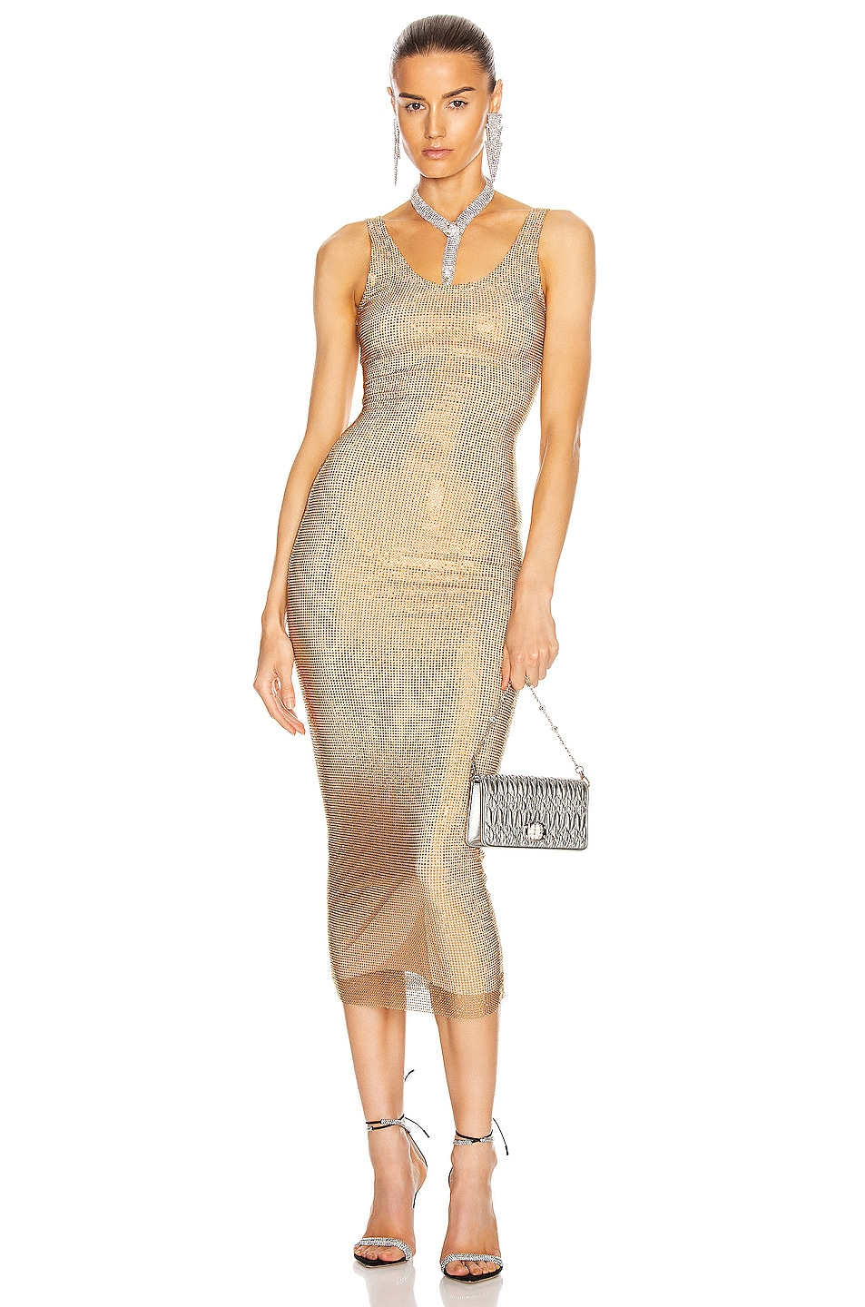 Image 1 of Alessandra Rich Crystal Net Dress in Gold