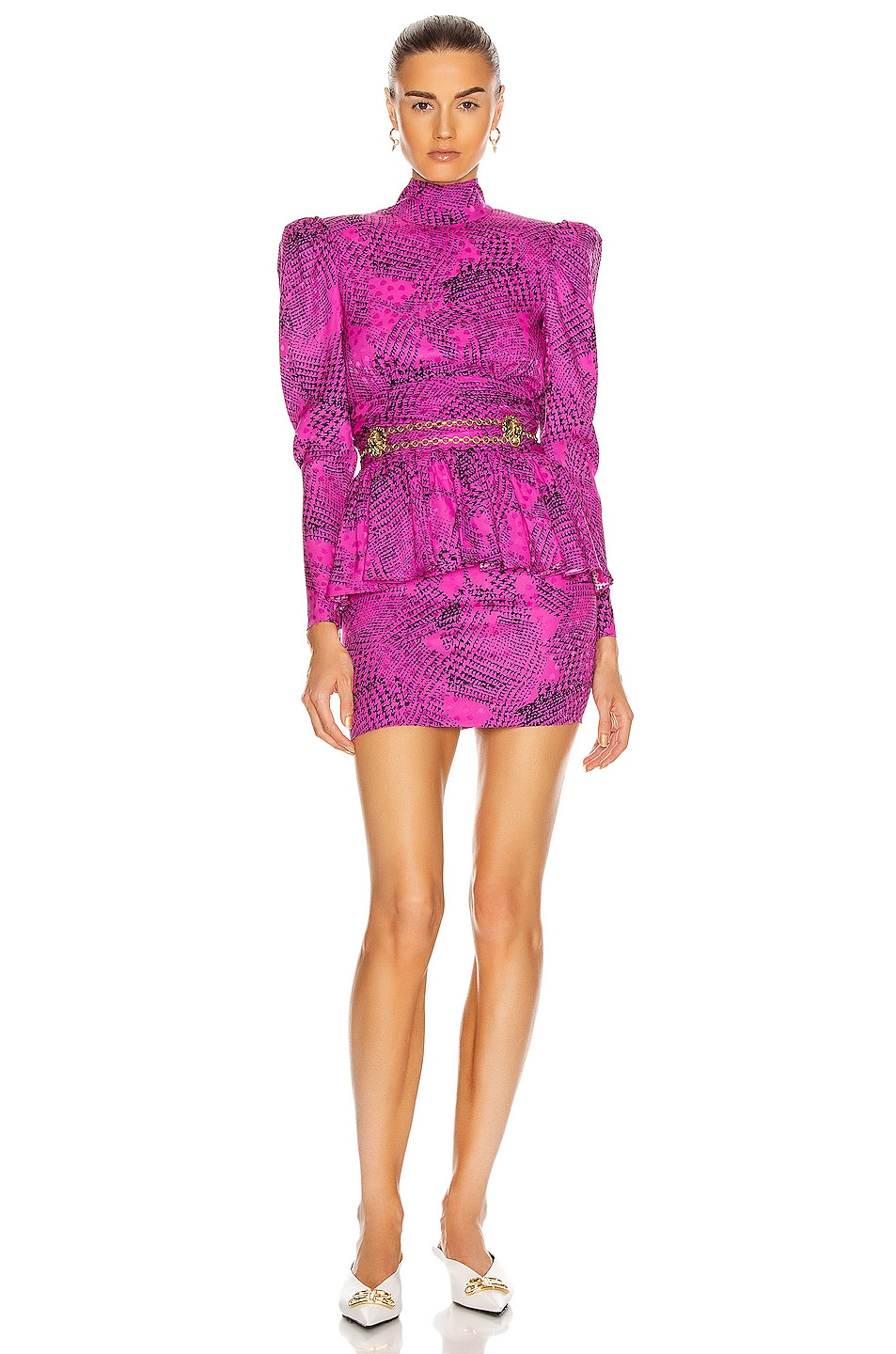 Image 1 of Alessandra Rich Prince of Wales Silk Open Back Mini Dress in Fuchsia