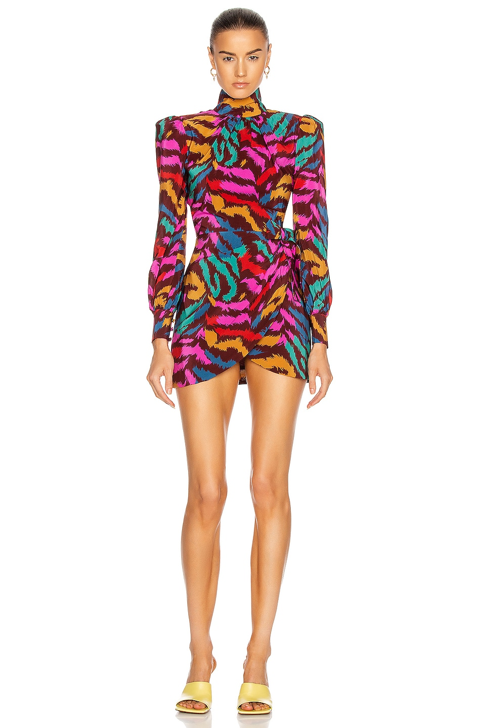 Image 1 of Alessandra Rich Silk High Neck Mini Dress with Bow Detail in Bordeaux