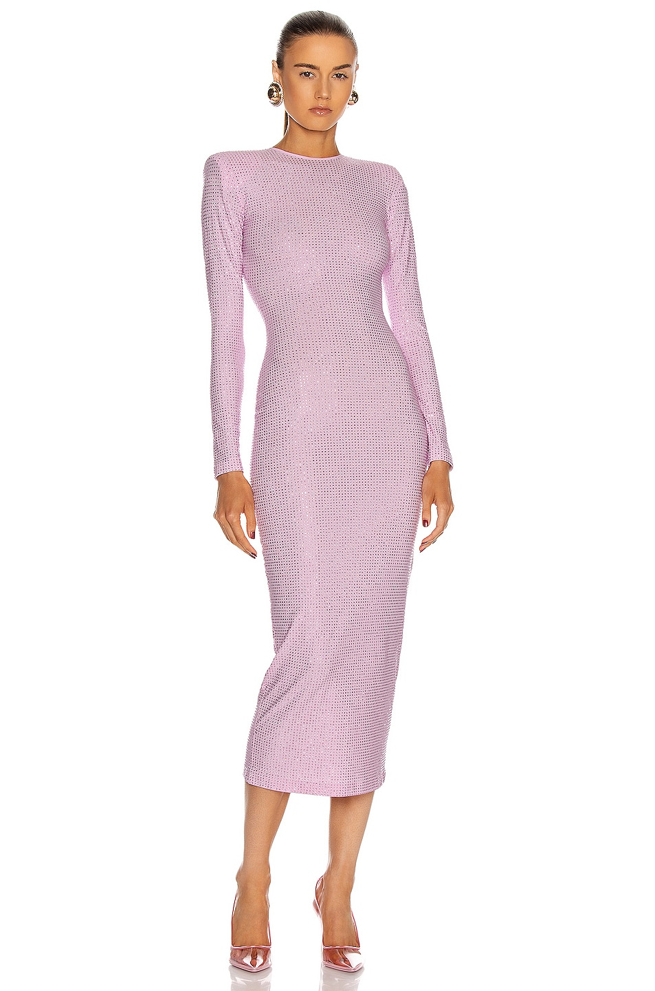 Image 1 of Alessandra Rich Crystal Midi Dress in Pink