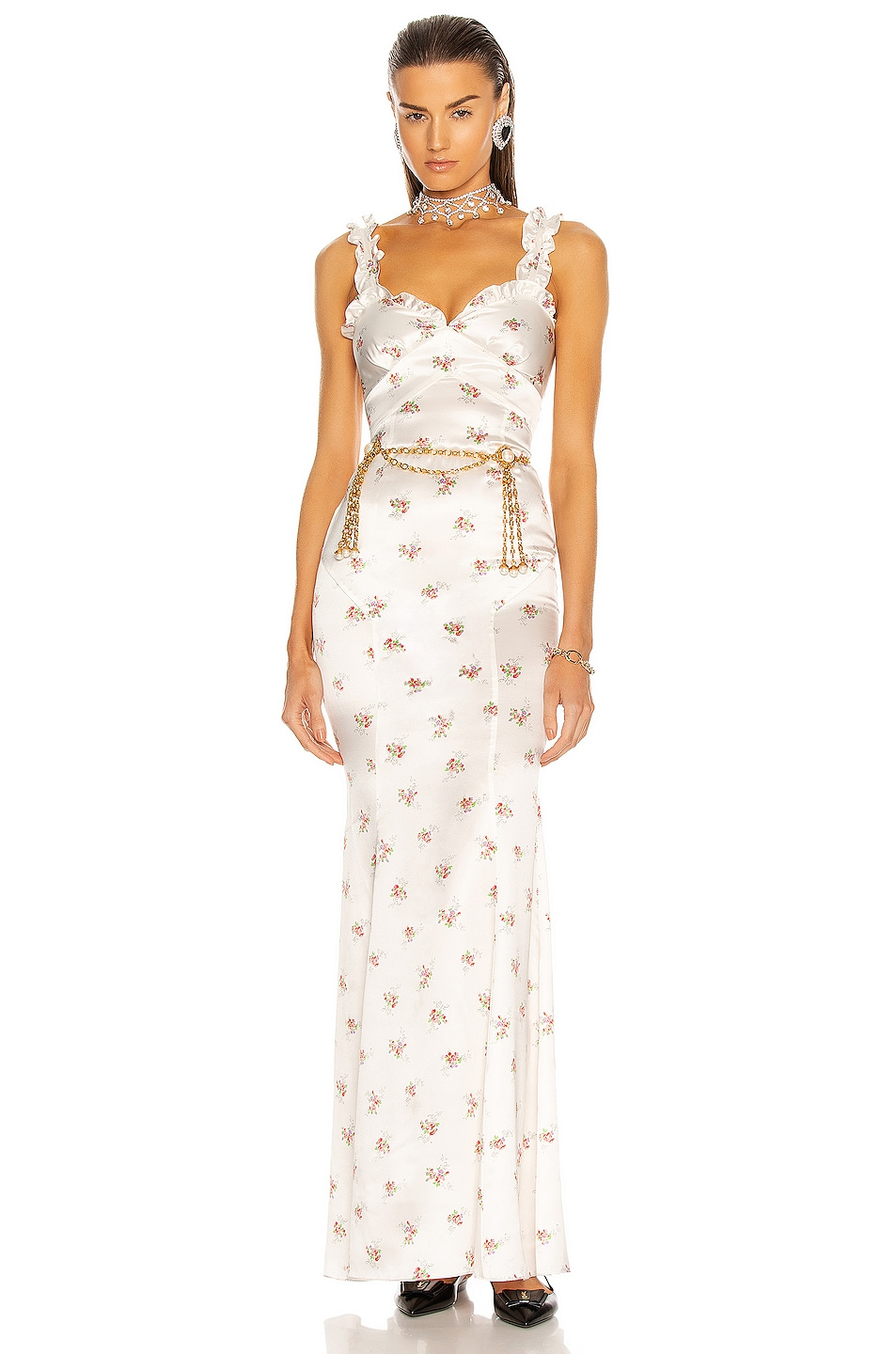 Image 1 of Alessandra Rich Floral Slip Dress in White & Pink