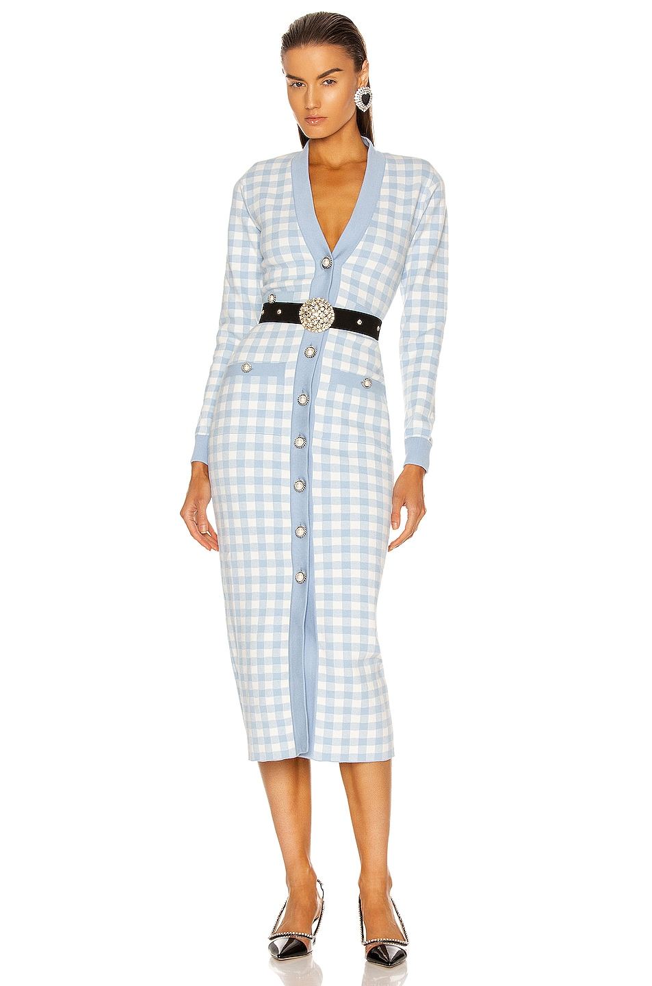 Image 1 of Alessandra Rich Gingham Long Sleeve Dress in Light Blue