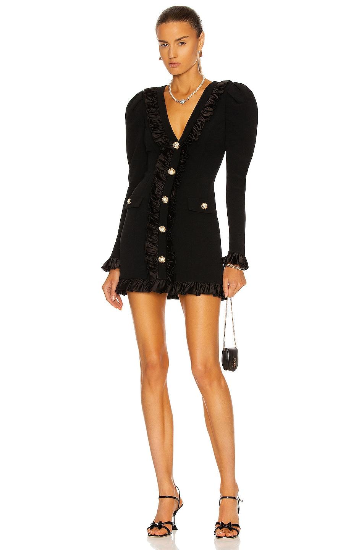 Image 1 of Alessandra Rich Long Sleeve Mini Dress in Black