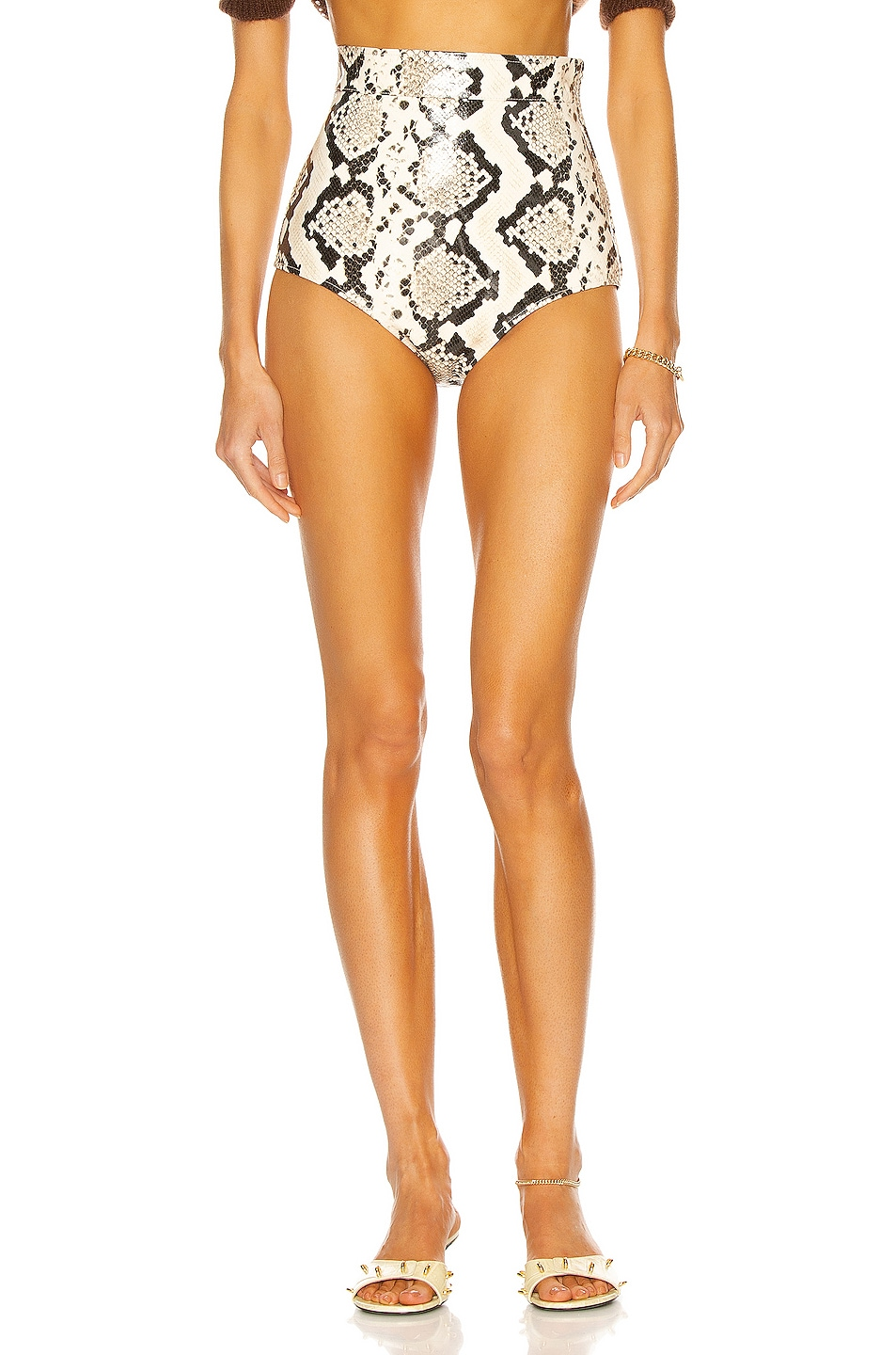 Image 1 of Alessandra Rich Python Print Leather Hot Short in Light Grey