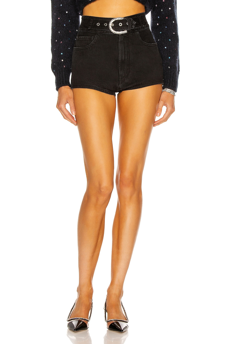 Image 1 of Alessandra Rich High Waisted Denim Belted Short in Black