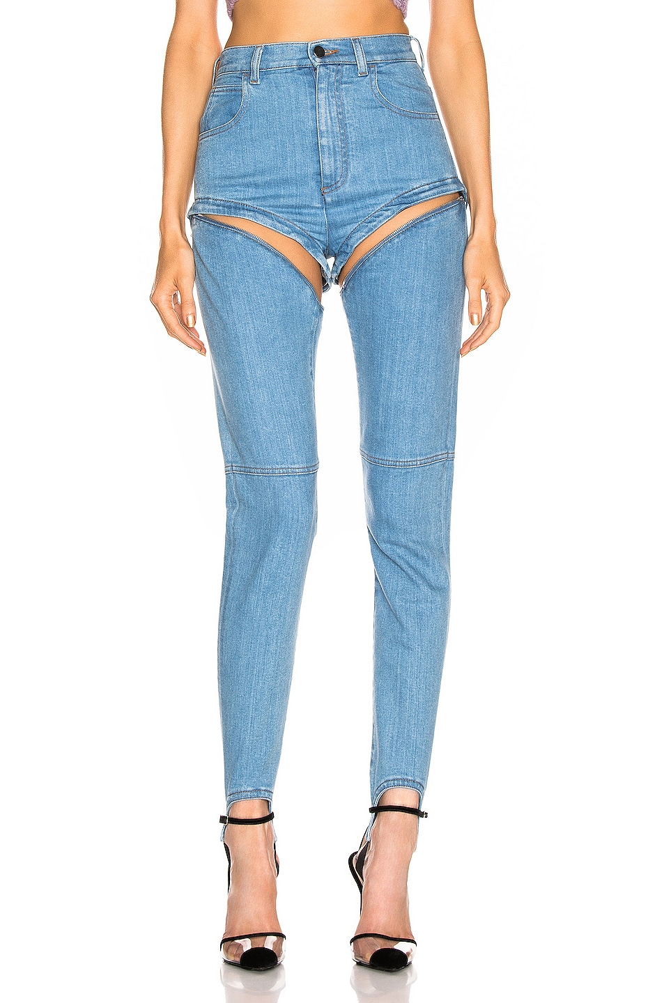 Image 1 of Alessandra Rich High Waisted Skinny Stirrup Jean in Light Blue