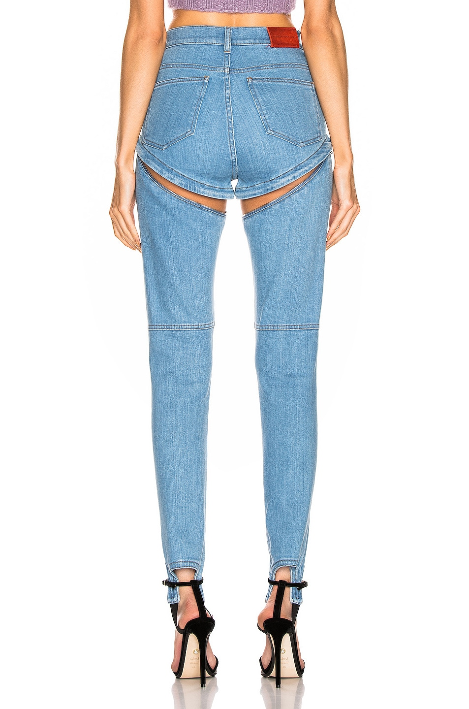 Image 4 of Alessandra Rich High Waisted Skinny Stirrup Jean in Light Blue