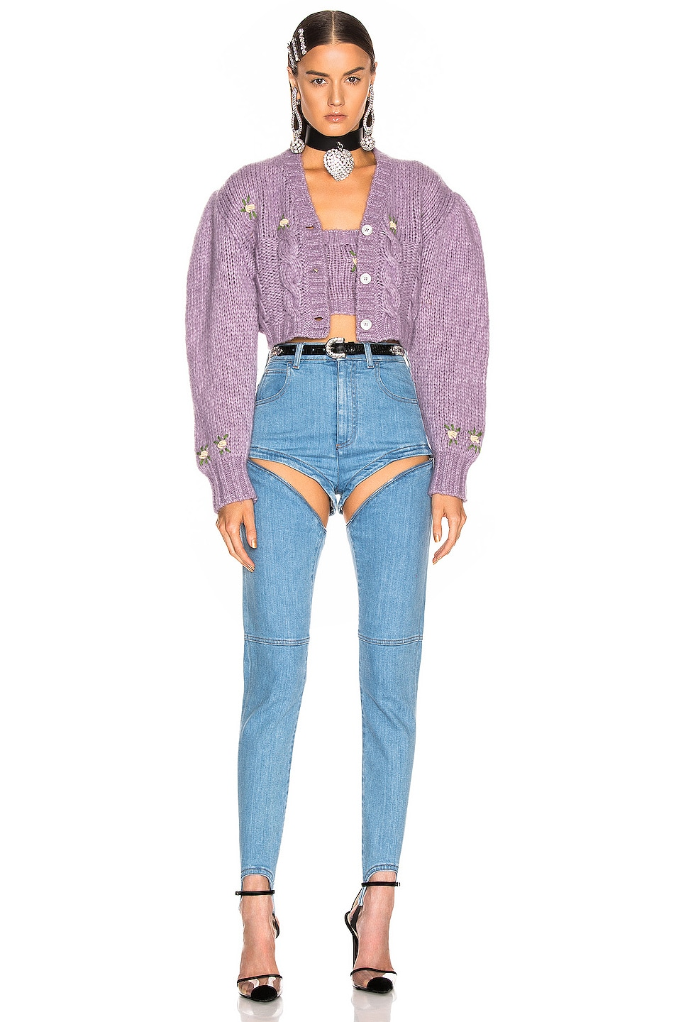 Image 5 of Alessandra Rich High Waisted Skinny Stirrup Jean in Light Blue