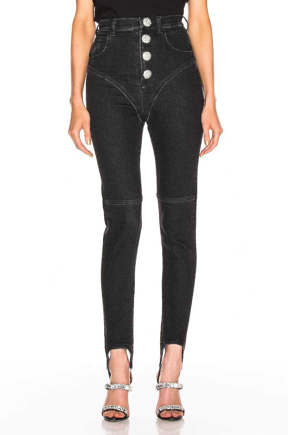 Image 1 of Alessandra Rich High Waisted Crystal Button Stirrup Jean in Black