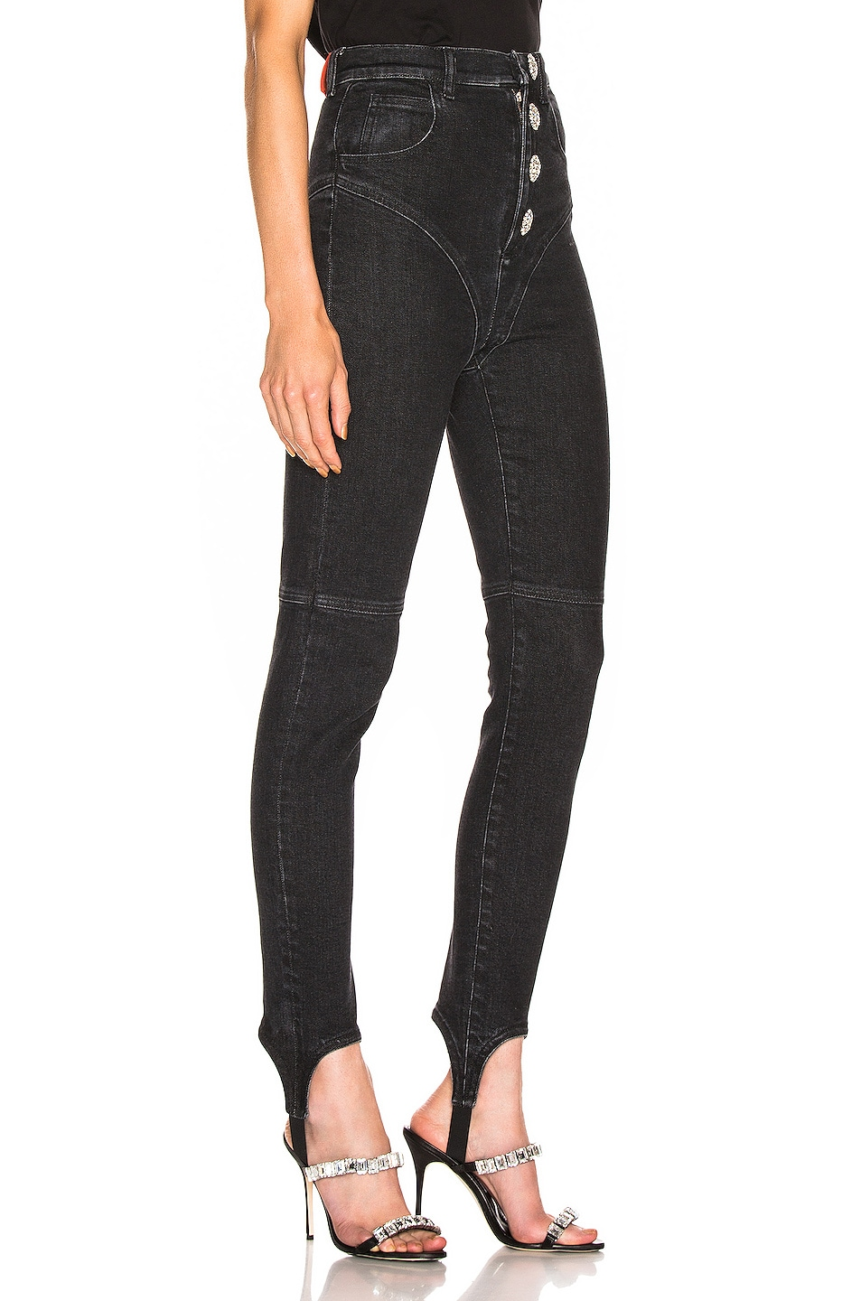 Image 2 of Alessandra Rich High Waisted Crystal Button Stirrup Jean in Black