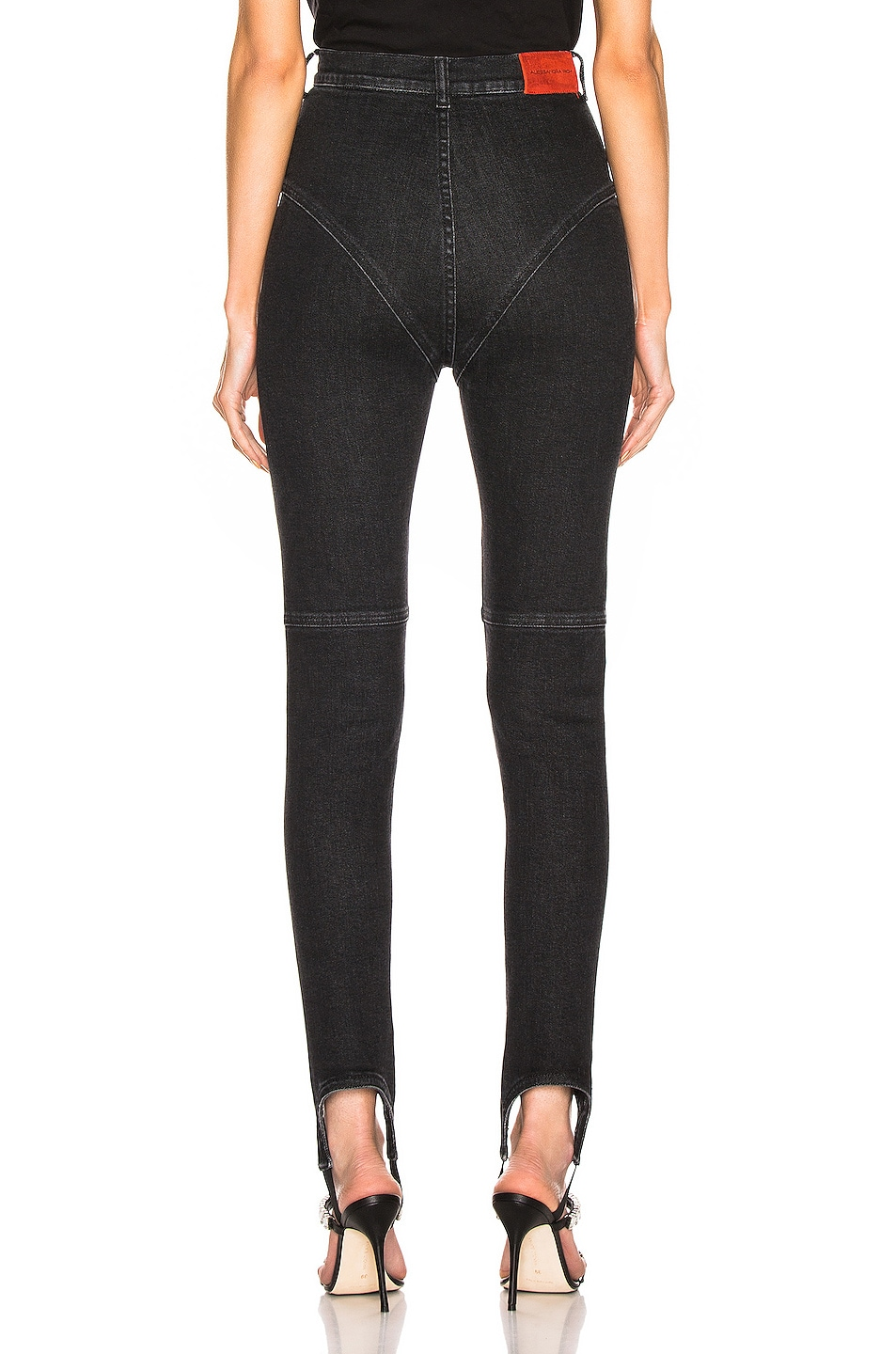 Image 3 of Alessandra Rich High Waisted Crystal Button Stirrup Jean in Black