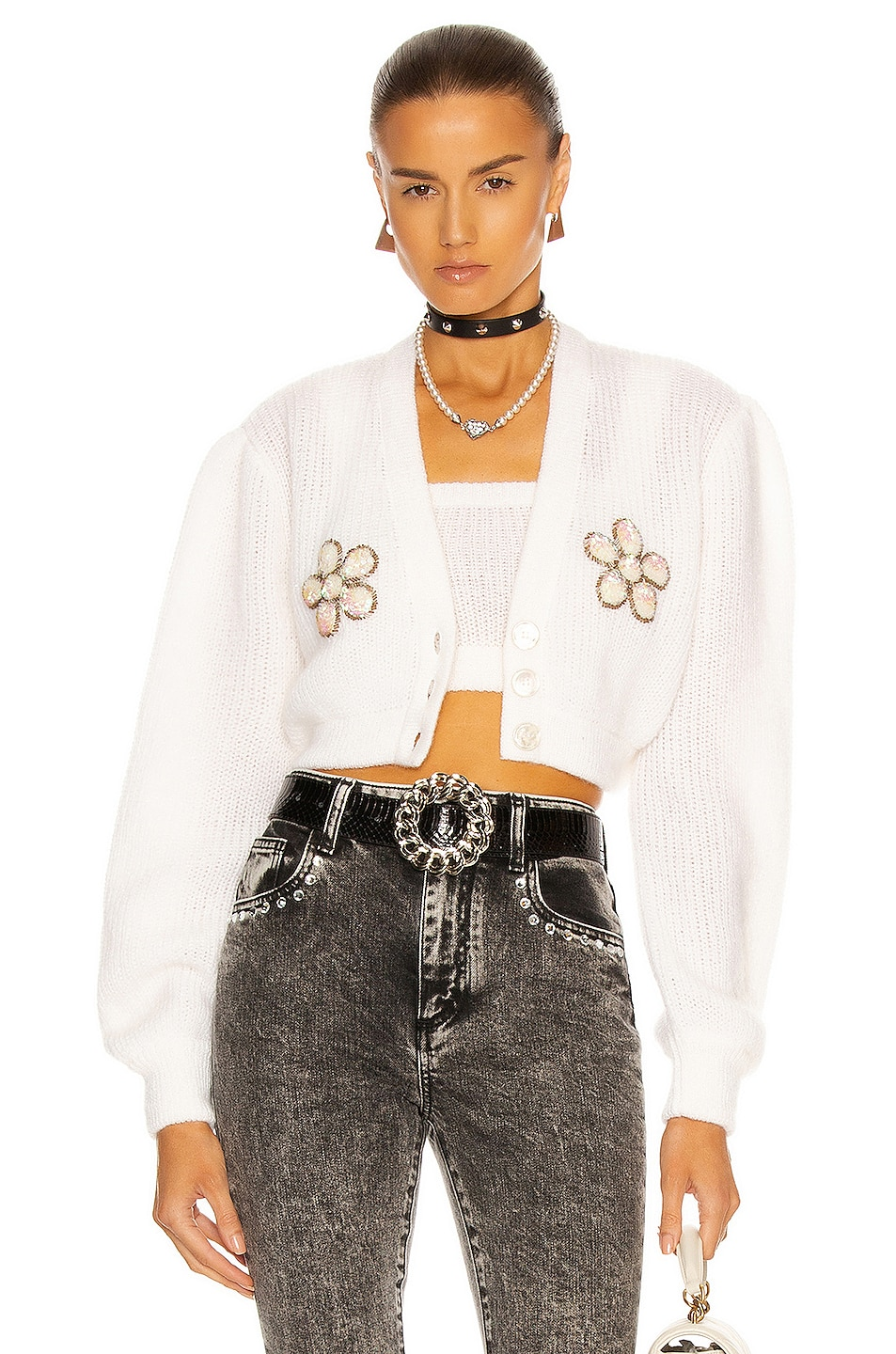 Image 1 of Alessandra Rich Cropped Flower Cardigan in White