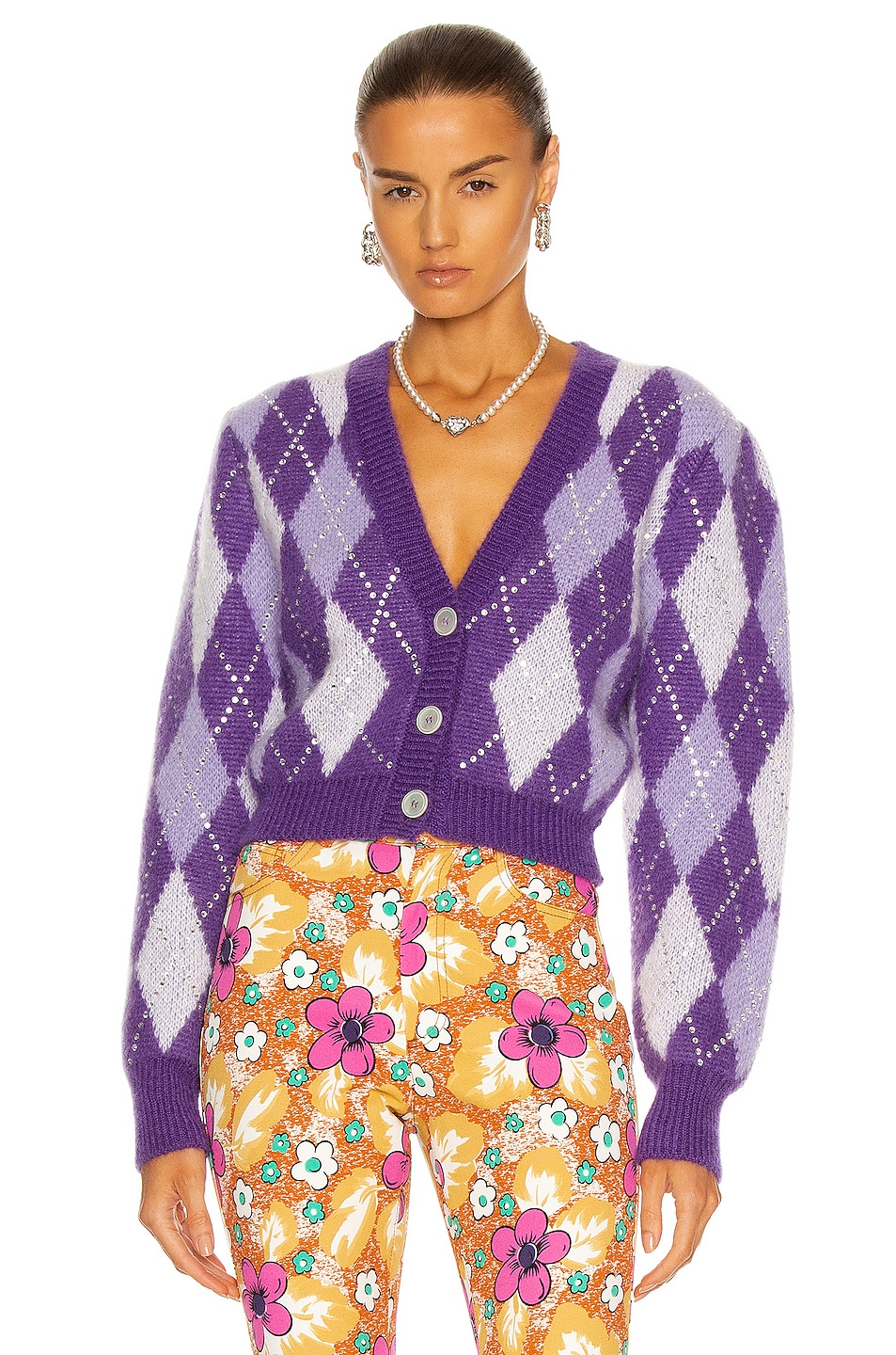 Image 1 of Alessandra Rich Argyle Wool Crystal Cropped Cardigan in Purple