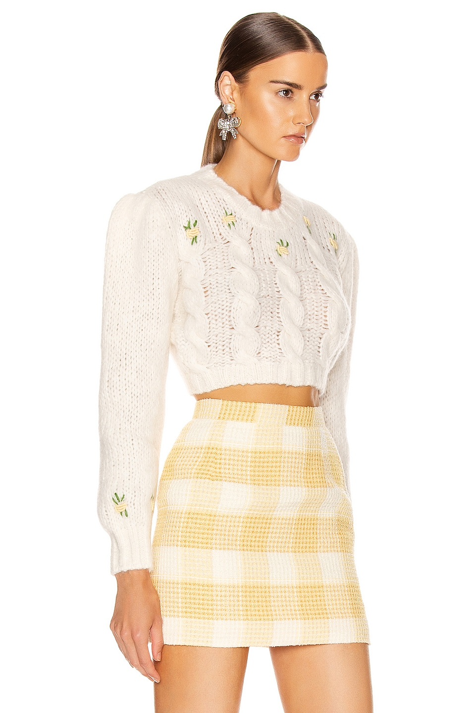 Image 2 of Alessandra Rich Wool Floral Sweater in White