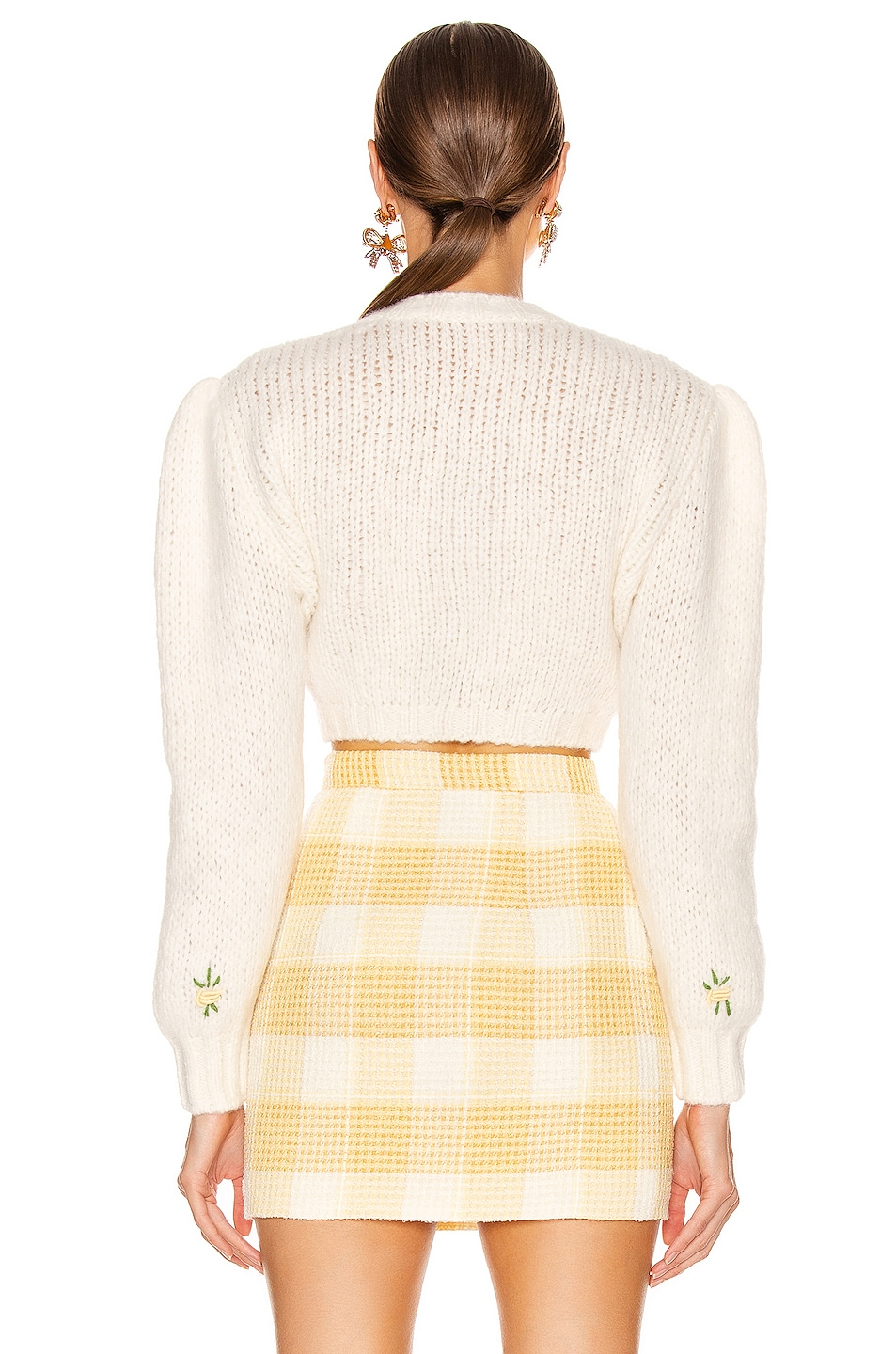 Image 3 of Alessandra Rich Wool Floral Sweater in White