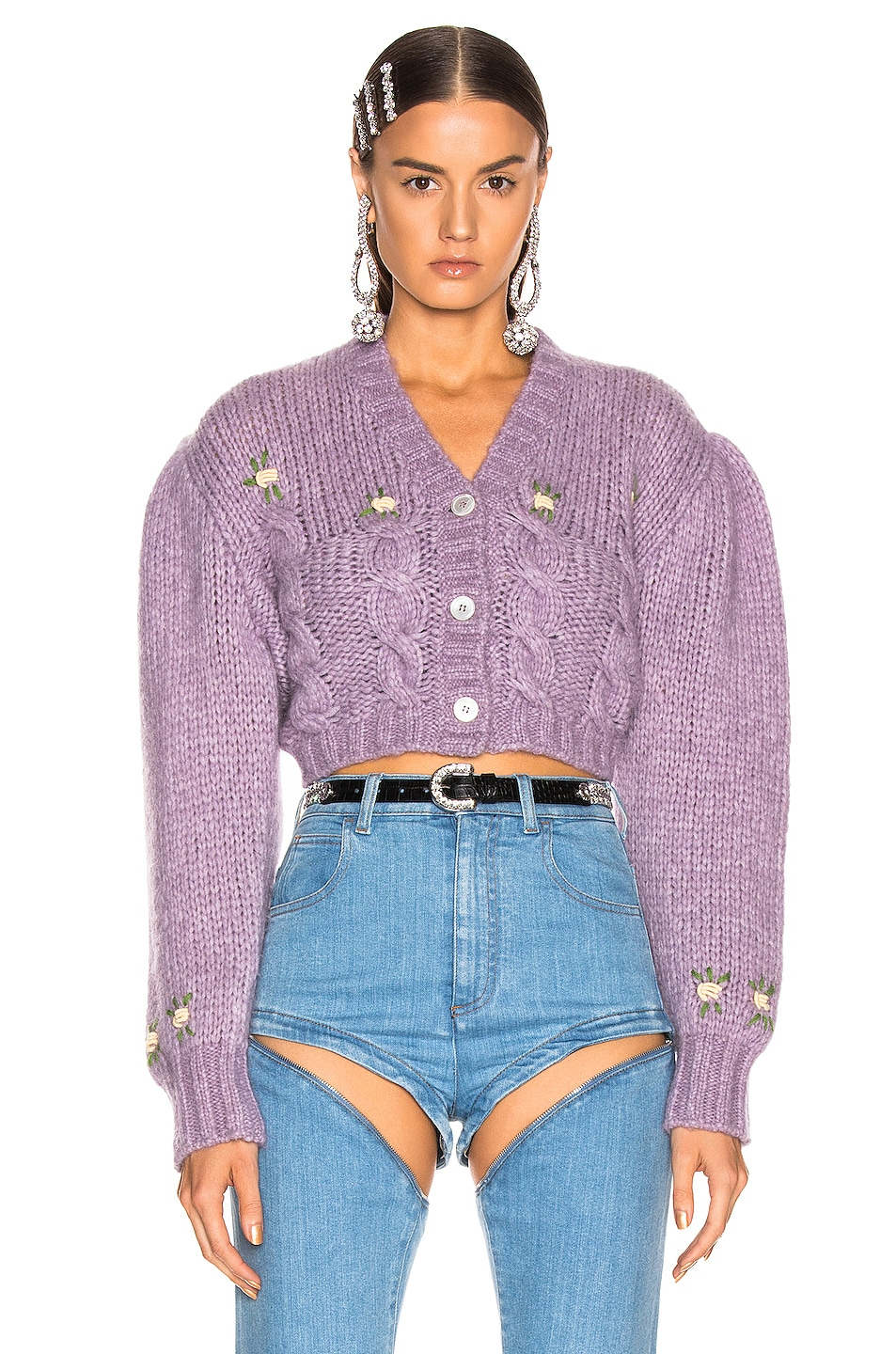 Image 2 of Alessandra Rich Floral Applique Cropped Wool Cardigan in Lilac