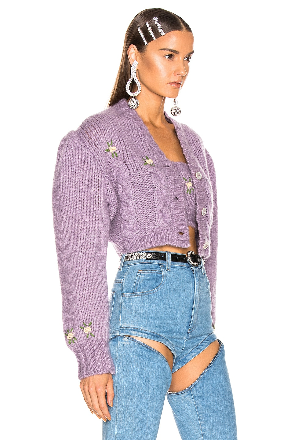Image 3 of Alessandra Rich Floral Applique Cropped Wool Cardigan in Lilac
