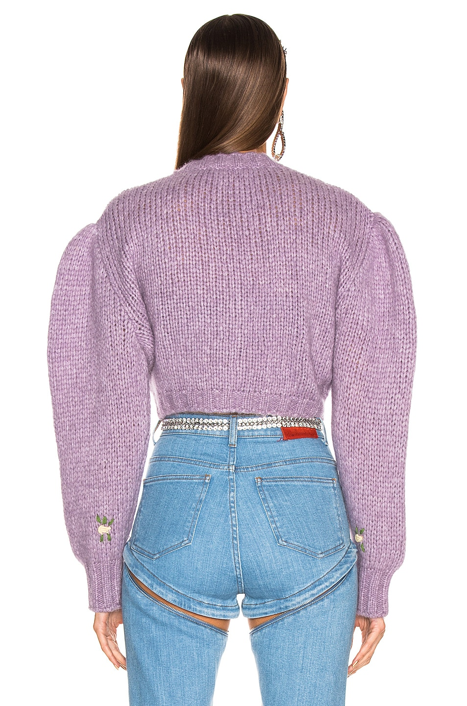 Image 5 of Alessandra Rich Floral Applique Cropped Wool Cardigan in Lilac